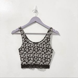 Forever 21 Floral Lace Hem Crop Tank Size Small